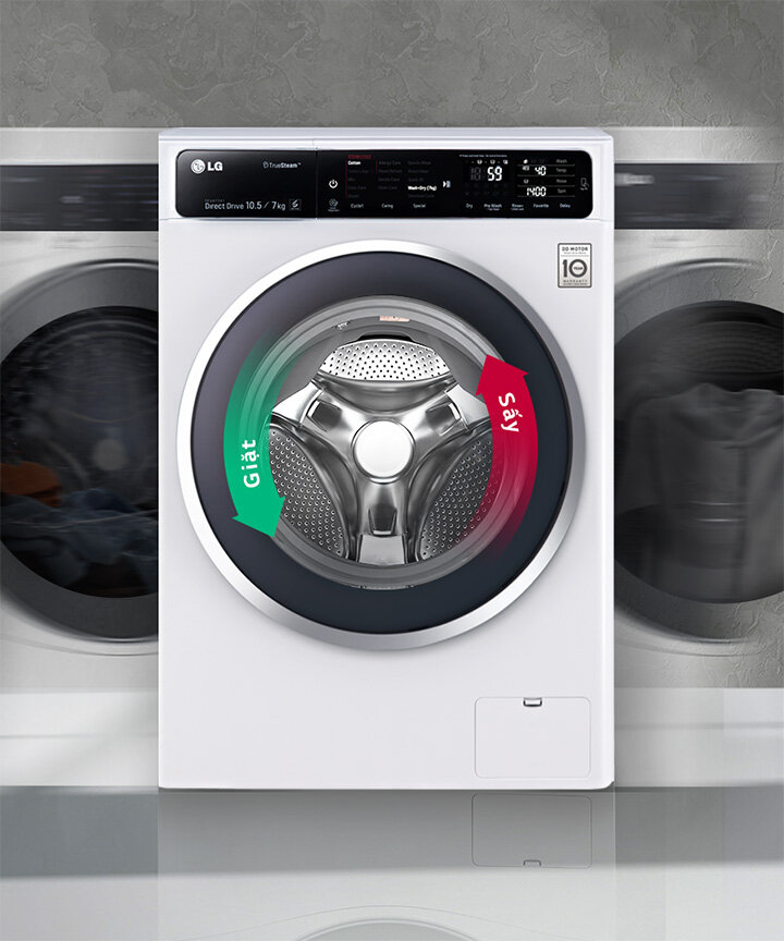Máy giặt sấy cửa trước inverter LG f2514dtgw thuộc phân khúc giá tầm trung