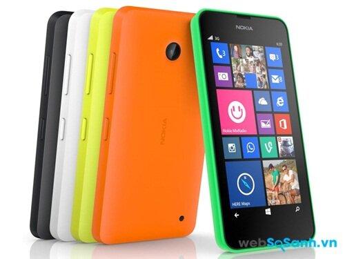 Điện thoại Lumia 630 với đặc trưng của dòng Lumia vỏ nhựa và nhiều tuỳ chọn màu sắc