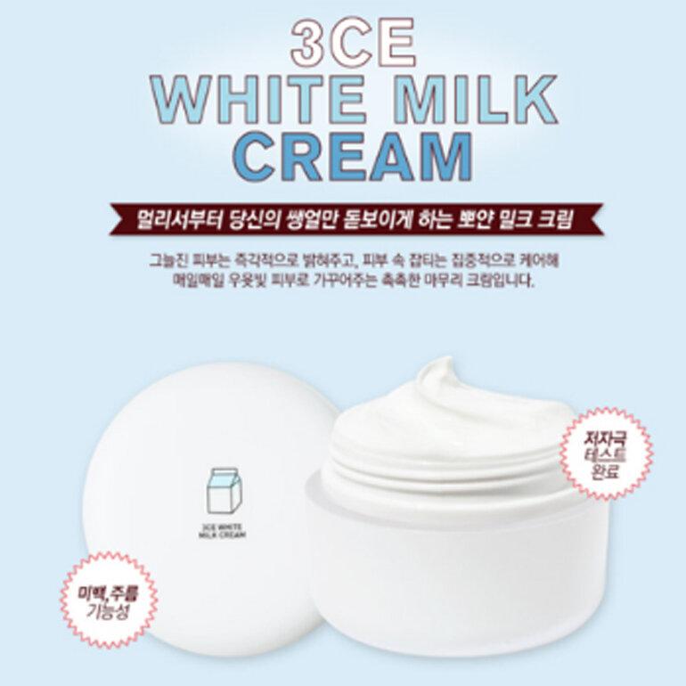 Bao bì lọ kem dưỡng 3CE White Milk có màu trắng trơn, trên lắp hộp kem có in logo hộp kem và chữ