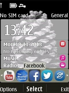 Giao diện màn hình chính của Nokia 515 chạy nền S40v6