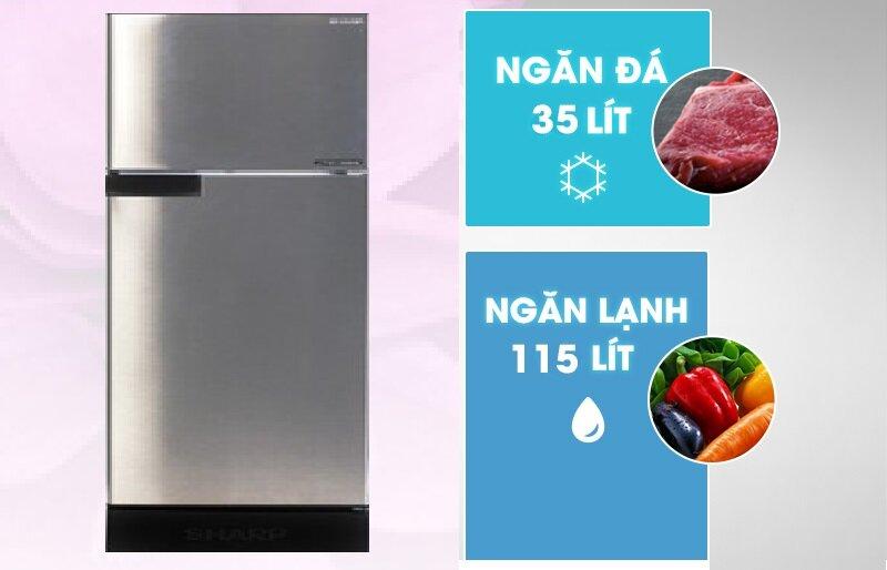 Sản phẩm tủ lạnh Sharp Inverter SJ-X176E có dung tích sử dụng thực tế lớn lên tới 150L.