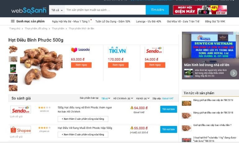Sử dụng Websosanh.vn để so sánh giá xem món hàng bạn định mua có thực sự sale hay không