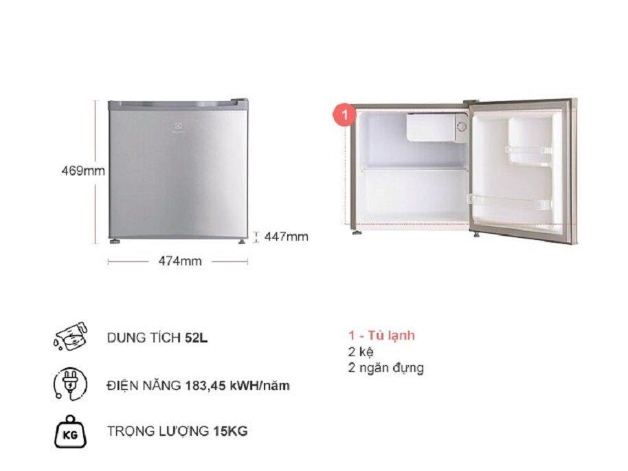 Các thông số của tủ lạnh mini Electrolux EUM0500SB