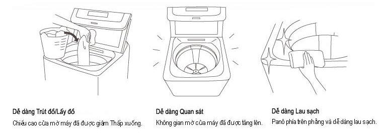 Nắp giặt lớn cho việc lấy quần áo dễ dàng và khả năng vệ sinh đơn giản hơn