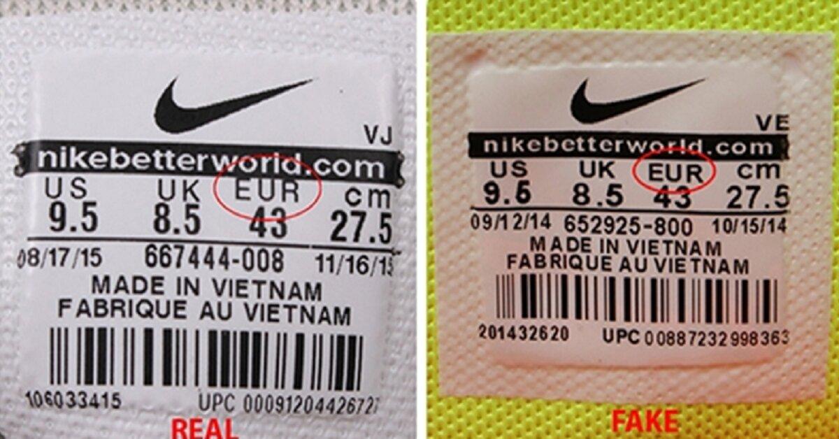 giày nike real và fake