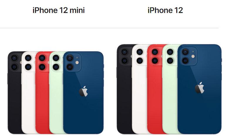 màu sắc trên iphone 12 mini