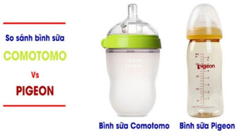 so sánh bình sữa Pigeon cổ rộng với bình sữa Comotomo