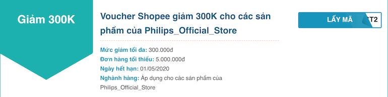Shopee giảm 300K cho các sản phẩm của Philips Official Store