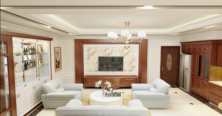 Giá thành của nội thất phòng khách tân cổ điển
