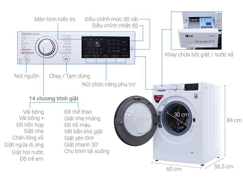 Chi tiết máy giặt LG FC1408S4W2