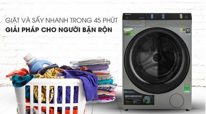 Tổng giặt sấy chỉ 45 phút, giặt nhanh chỉ 10 phút giúp bạn tiết kiệm thời gian