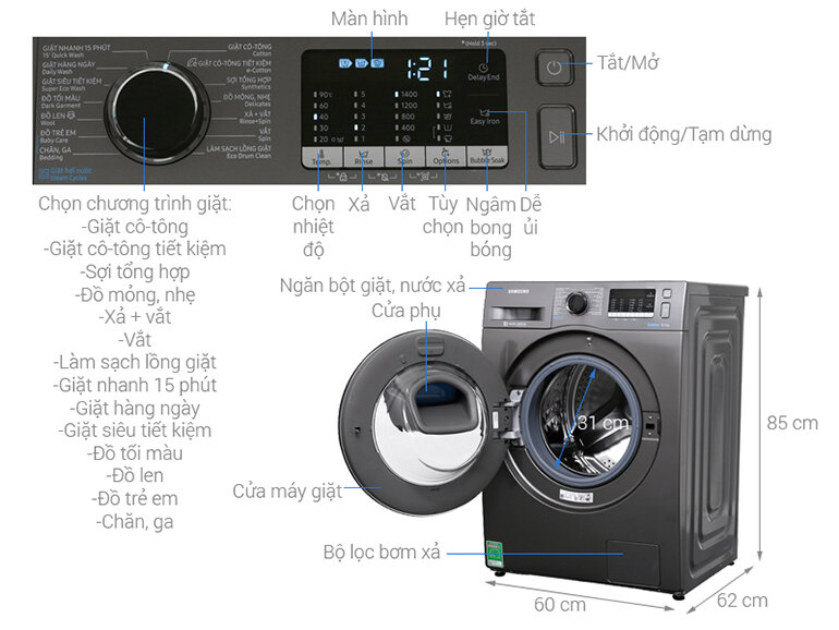 Máy Giặt Cửa Trước AddWash WW85K54E0UX/SV