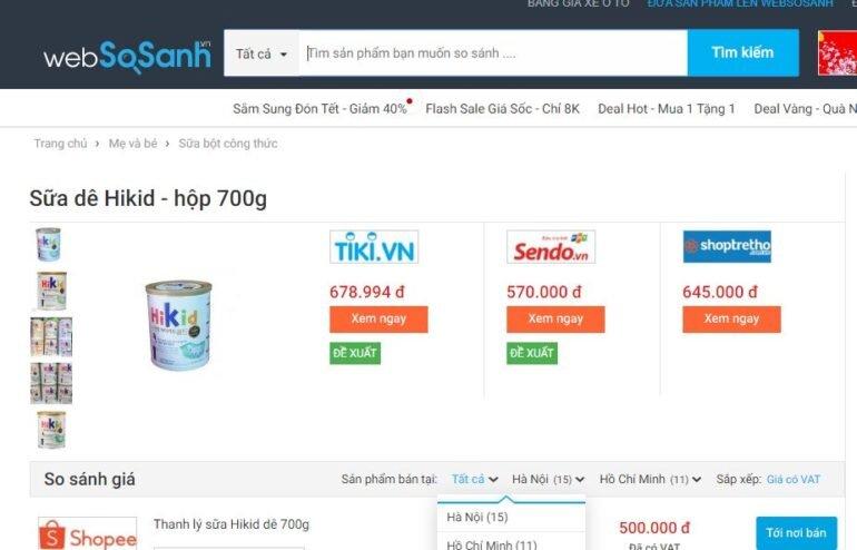 Giá sữa Hikid tăng chiều cao của Hàn Quốc bao nhiêu tiền?