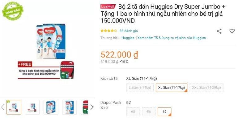 Bộ 2 tã dán Huggies Dry Super Jumbo + Tặng 1 balo hình thú ngẫu nhiên cho bé trị giá 150.000VND