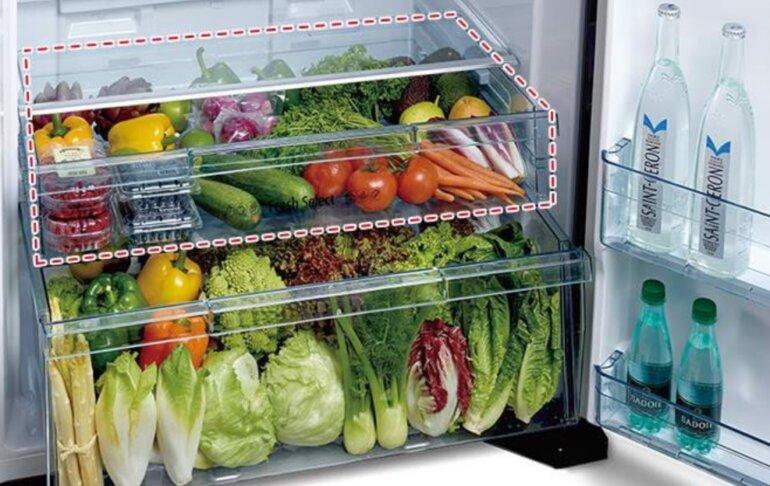 tủ lạnh Hitachi 450L R-FG560PGV8 (GBK) có 2 ngăn rau riêng cho gia đình thoải mái lưu trữ
