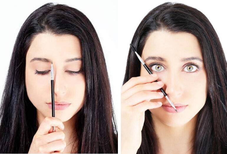 Dùng chính cây chì kẻ mày để đo độ cân xứng của hàng lông mày