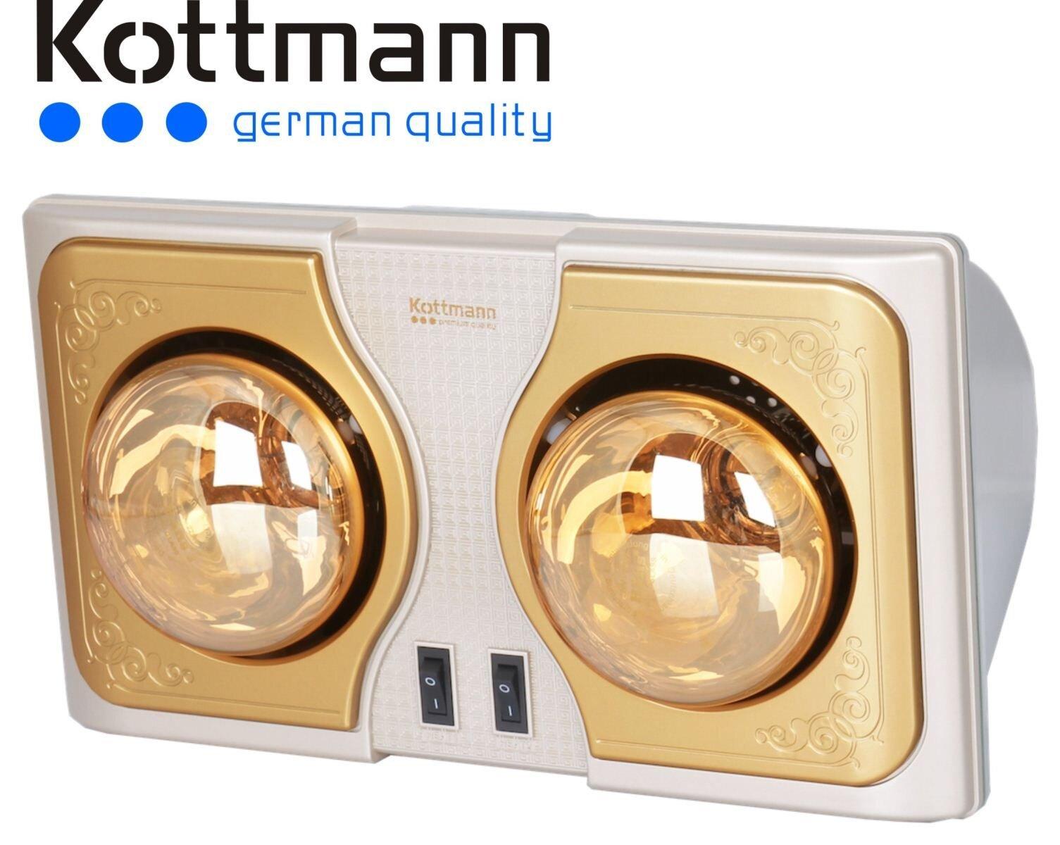 Đèn sưởi nhà tắm 2 bóng Kottmann K2B-H phong cách Châu Âu ấn tượng