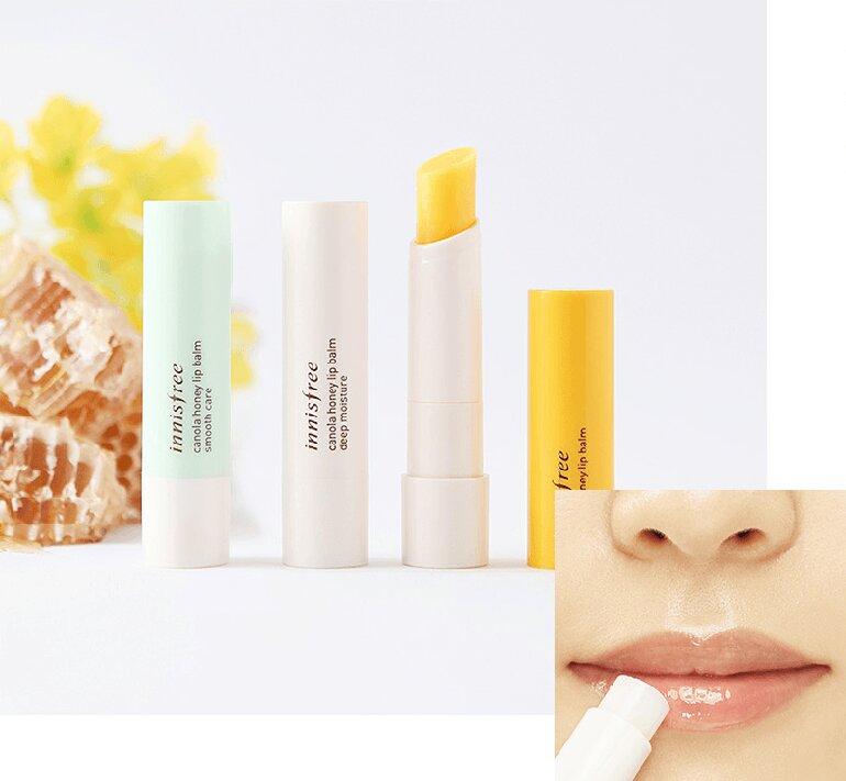 Son dưỡng Innisfree Canola Honey Lip Balm giúp môi căng mọng hơn