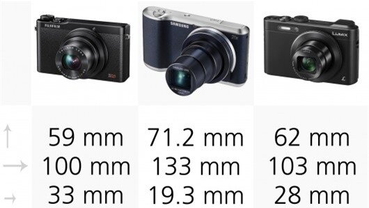 The Panasonic LF1 is the smallest camera in our selection, while the Samsung Galaxy Camera...