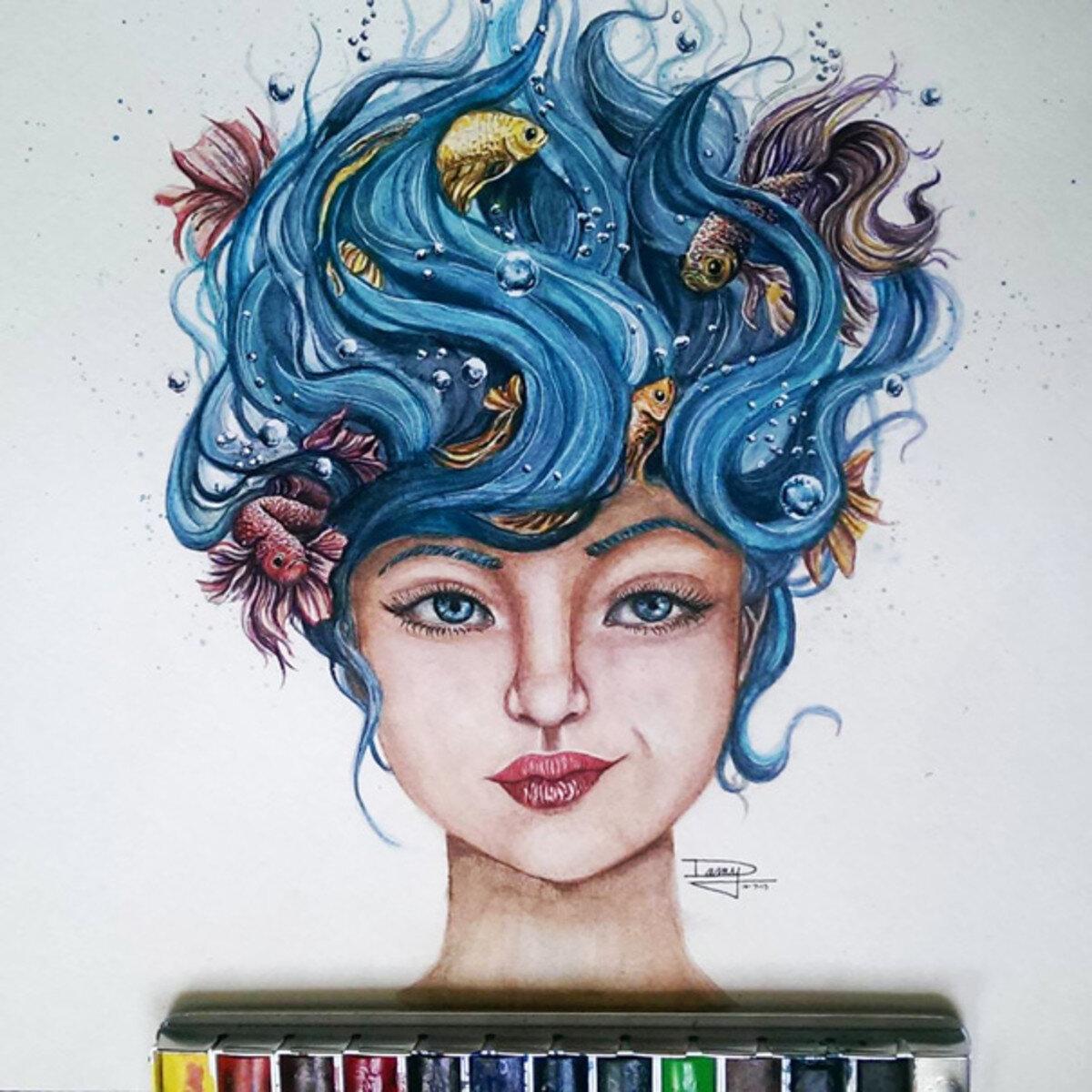 Tranh màu nước đẹp - Cô gái với mái tóc đại dương