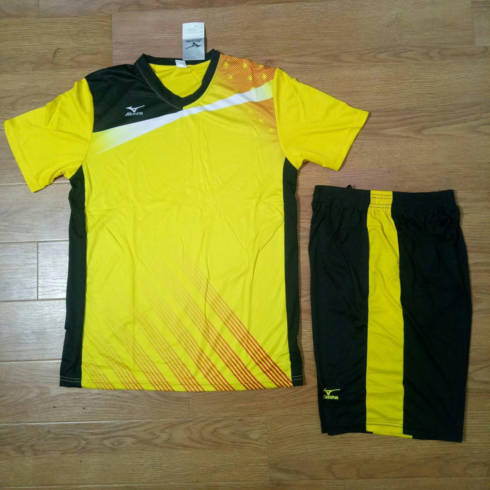 Bộ quần áo bóng chuyền nam Mizuno màu vàng
