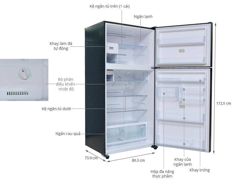 Tủ lạnh Toshiba GR-WG58VDAZ cấu tạo ngăn đá 158L và ngăn lạnh 388L.