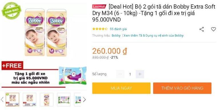 [Deal Hot] Bộ 2 gói tã dán Bobby Extra Soft Dry M34 (6 - 10kg) -Tặng 1 gối đi xe trị giá 95.000VND
