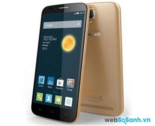 Điện thoại One Touch Flash Plus có thiết kế nguyên khối với chất liệu nhựa