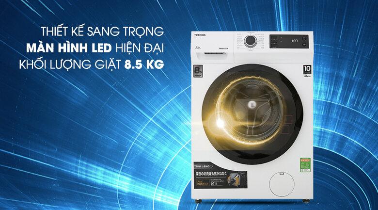 Máy giặt cửa ngang Toshiba có thiết kế thời thượng, kiểu dáng sang trọng
