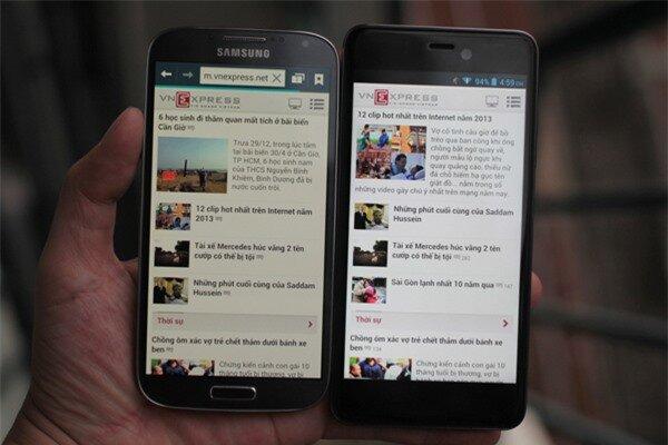 Q-Smart Dream SI đọ màn hình cùng Samsung Galaxy S4 6