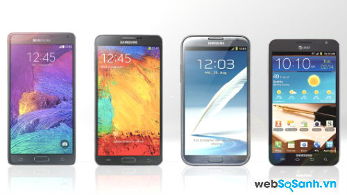 Samsung Galaxy Note 4, Note 3, Note 2, Note 1.