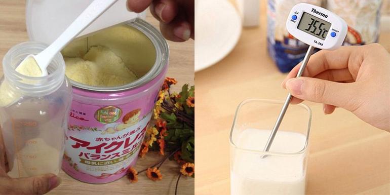 Pha sữa đúng tỷ lệ và nhiệt độ nước phù hợp