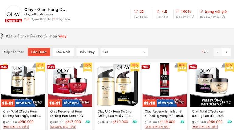 Shopee giảm 10% khi mua hàng tại gian hàng Olay chính hãng
