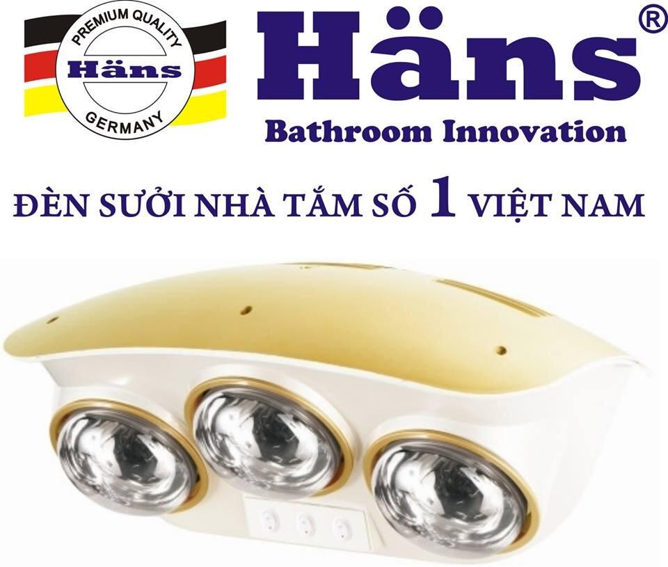 Đèn sưởi nhà tắm 3 bóng Hans H3B Bạc