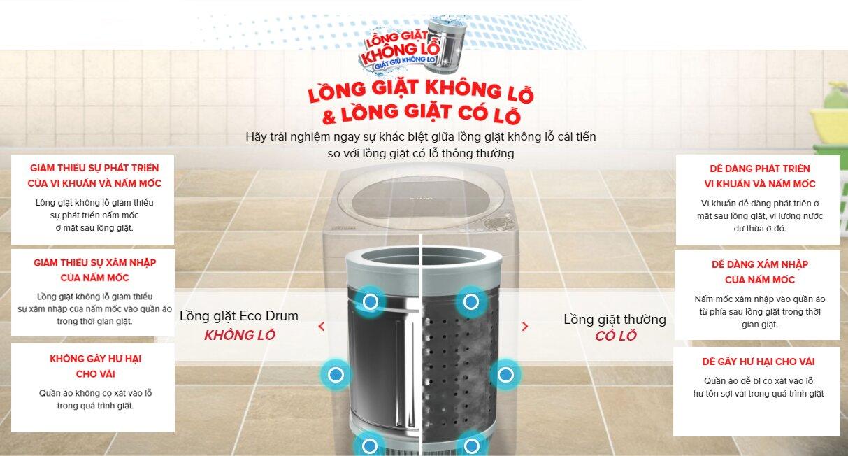 Máy giặt lồng đứng Sharp ES-U82GV-G, 8.2kg có nhiều ưu điểm
