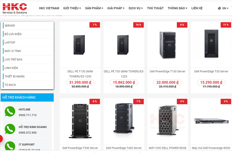 Máy chủ Server giá rẻ thương hiệu DELL được bán tại HKC