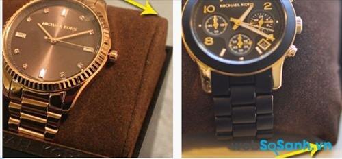 Các góc của gối treo đồng hồ Michael Kors thật đều được bo vuông chứ không nhọn đầu như trên những chiếc đồng hồ giả