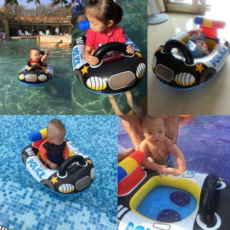 Phao bơi cho bé 2 tuổi xỏ chân hình xe cảnh sát