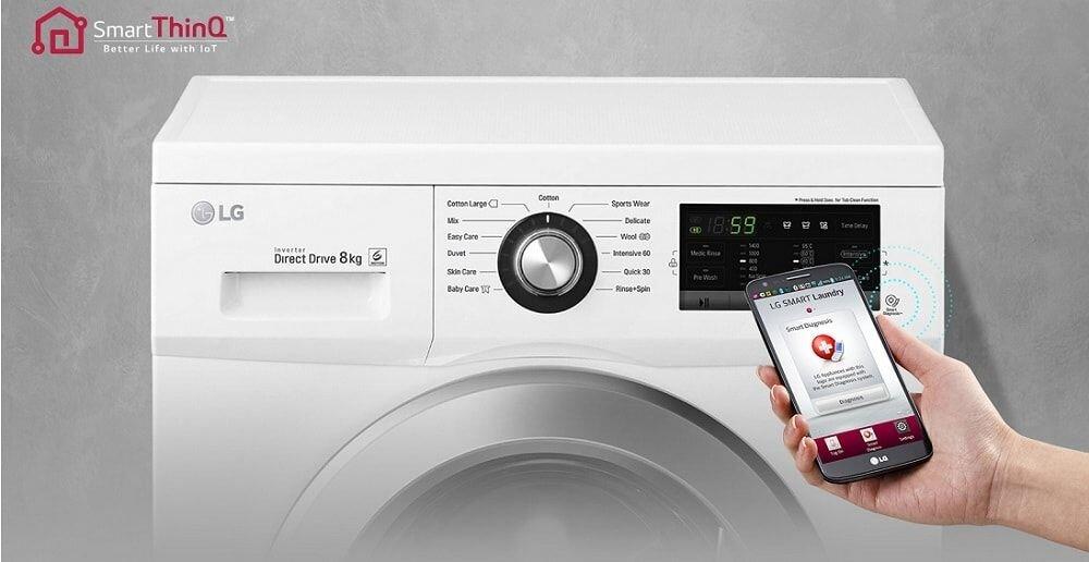 Công nghệ điều khiển bằng điện thoại của máy giặt LG