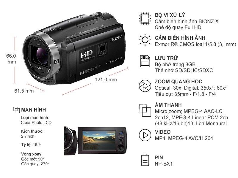Thông số kỹ thuật Sony Handycam HDR-PJ67