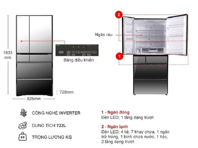 kích thước tủ lạnh 6 cánh Hitachi X670GV(X) 722 Lít Inverter dòng French Door