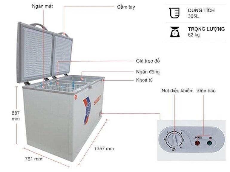 Tủ đông Sanaky 1 ngăn đông 1 ngăn mát VH 568W2