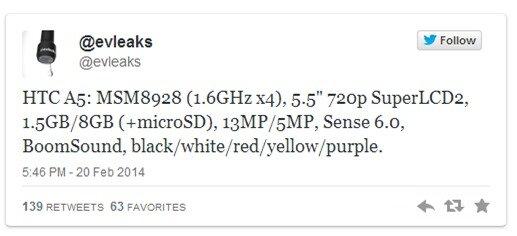 Lộ cấu hình chi tiết phablet nhiều màu HTC Desire 8