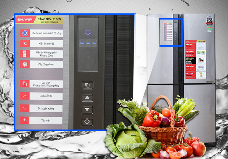 Tủ lạnh Sharp SJ-FX630V-ST sử dụng bảng điều khiển bằng ngôn ngữ tiếng Việt