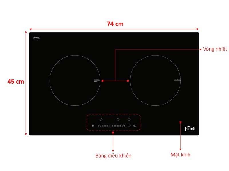Bếp điện từ của Ferroli có chức năng nấu đa dạng, tính năng an toàn đạt chuẩn
