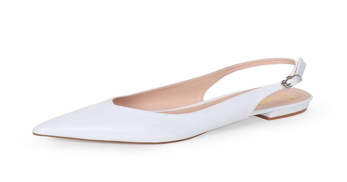 giày búp bê trắng mũi nhọn