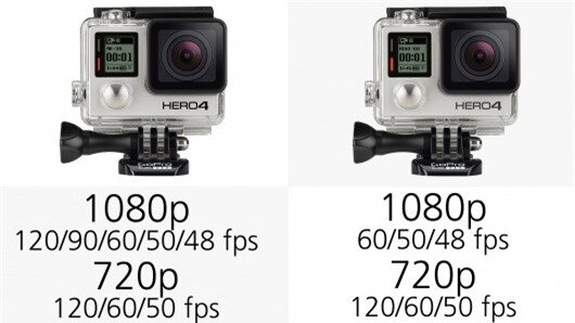 The GoPro Hero4 Black can shoot Full HD 1080p video at frame-rates up to 120 fps