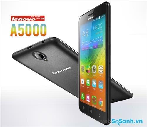 Điện thoại Lenovo A5000 có thiết kế khá đơn giản, thân máy được làm hoàn toàn bằng hợp chất polycacbonat