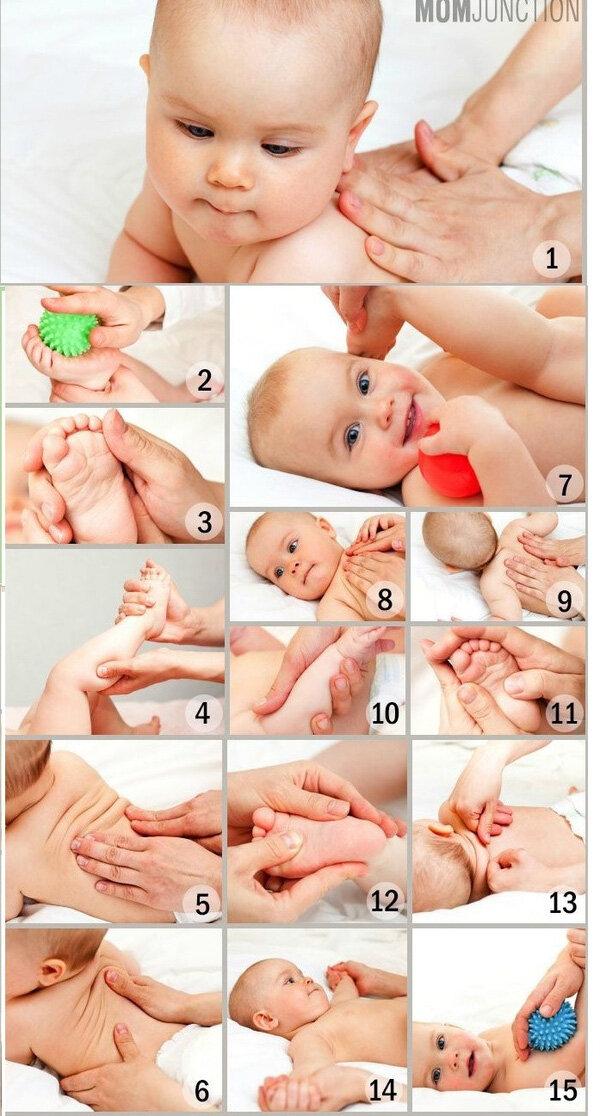 Hãy bắt đầu massage từ chân trước để bé làm quen dần với việc đụng chạm, sau đó massage dần lên cánh tay, bàn tay và các bộ phận khác