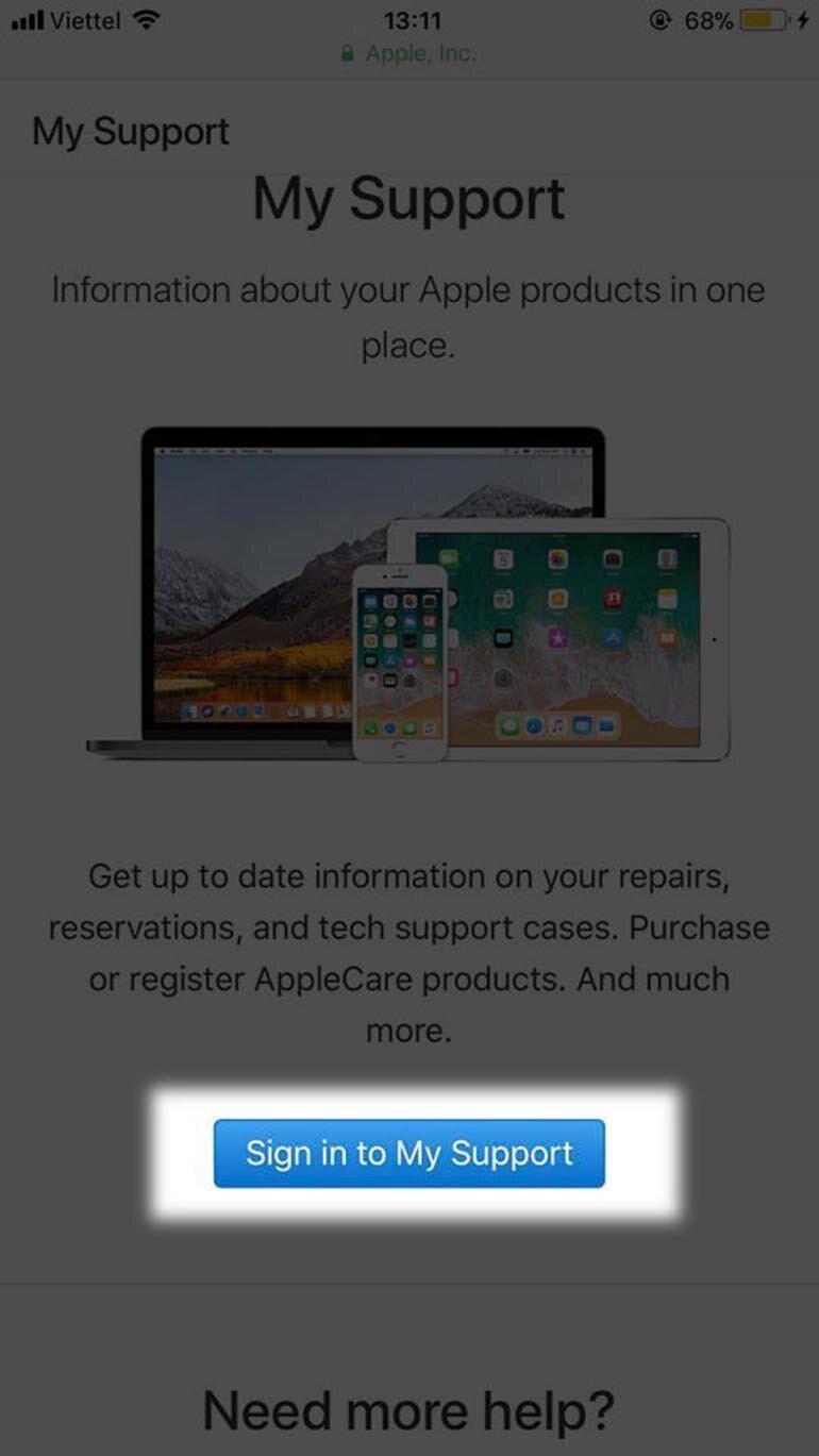 Giao diện khi vào web Apple